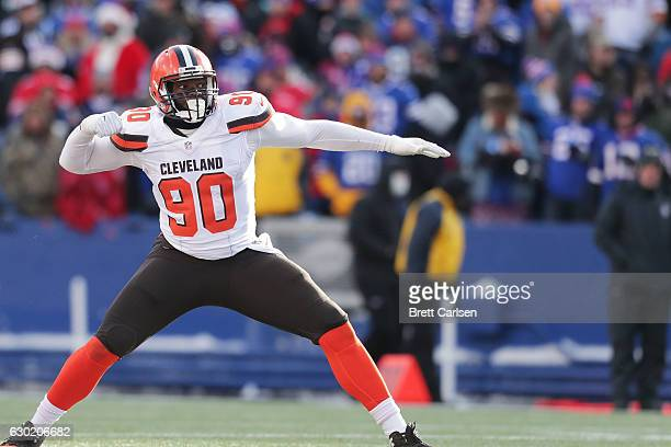 Emmanuel Ogbah of the Cleveland Browns celebrates a sack against the Buffalo Bills during the first half at New Era Field on December 18 2016 in...