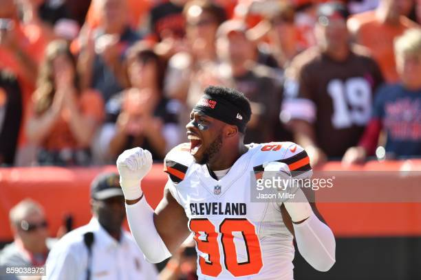 Emmanuel Ogbah of the Cleveland Browns reacts in the game against the New York Jets at FirstEnergy Stadium on October 8 2017 in Cleveland Ohio
