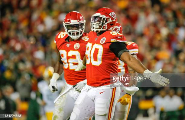 Emmanuel Ogbah of the Kansas City Chiefs celebrates his third quarter sack against the Green Bay Packers at Arrowhead Stadium on October 27, 2019 in...