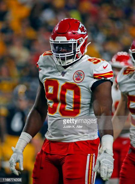 Emmanuel Ogbah of the Kansas City Chiefs in action during a preseason game against the Pittsburgh Steelers on August 17, 2019 at Heinz Field in...