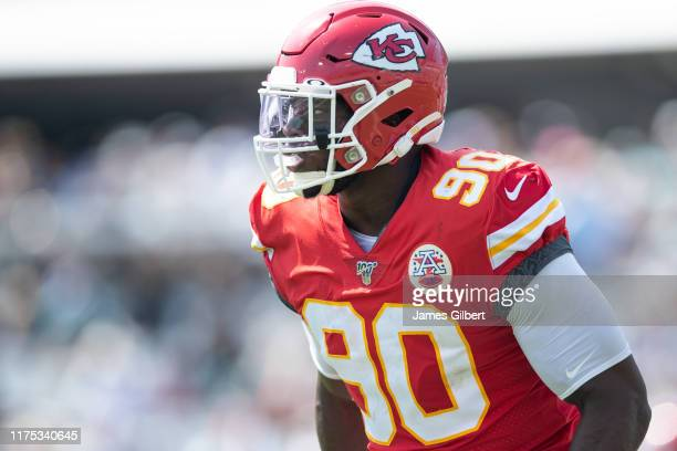 Emmanuel Ogbah of the Kansas City Chiefs looks on during a game against the Jacksonville Jaguars at TIAA Bank Field on September 08, 2019 in...