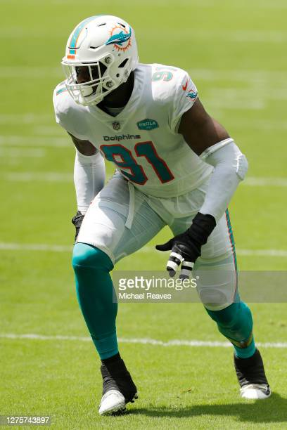 Emmanuel Ogbah of the Miami Dolphins in action against the Buffalo Bills at Hard Rock Stadium on September 20, 2020 in Miami Gardens, Florida.