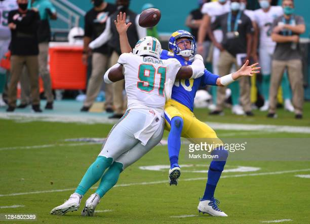 Emmanuel Ogbah of the Miami Dolphins sacks Jared Goff of the Los Angeles Rams during the game at Hard Rock Stadium on November 01, 2020 in Miami...