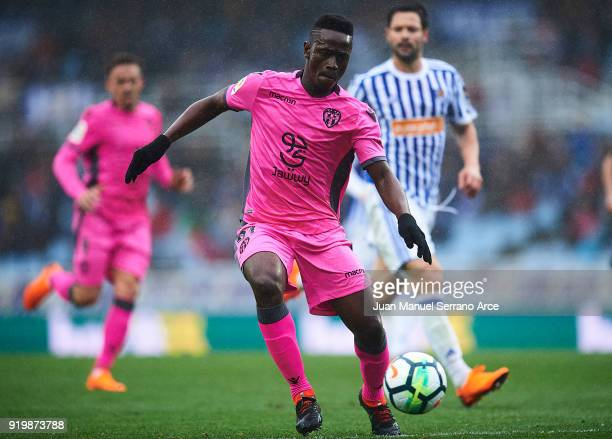 Emmanuel Okyere Boateng of Levante UD in action during the La Liga match between Real Sociedad and Levante at Estadio de Anoeta on February 18 2018...