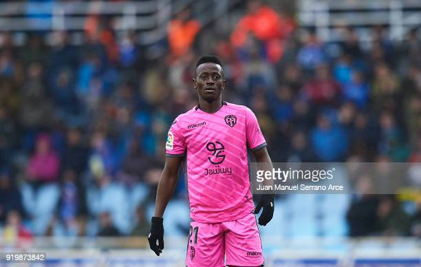 Emmanuel Okyere Boateng of Levante UD looks on during the La Liga match between Real Sociedad and Levante at Estadio de Anoeta on February 18 2018 in...
