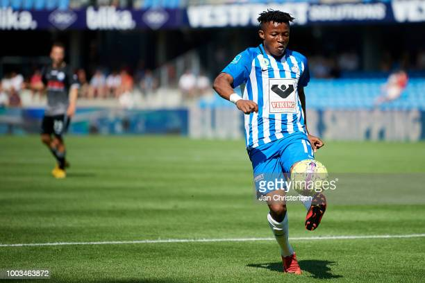 Emmanuel Oti Essigba of Esbjerg fB in action during the Danish Superliga match between Esbjerg fB and Vendsyssel FF at Blue Water Arena on July 21...