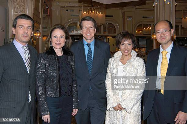 Emmanuel Perrin, Becca Cason Thrash, Cholaf Luchsinger, Olivia Lee-Davies and George Tong attend Van Cleef & Arpels and Mont Blanc Host A Luncheon to...