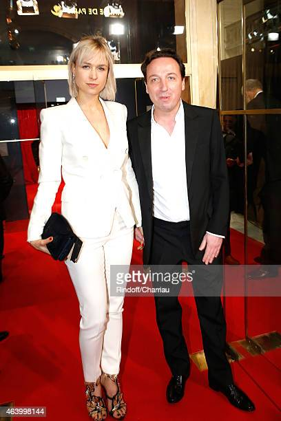 Emmanuel Perrotin and his companion AnneSophie Mignaux arrive at the 40th Cesar Film Awards 2015 Cocktail at Theatre du Chatelet on February 20 2015...