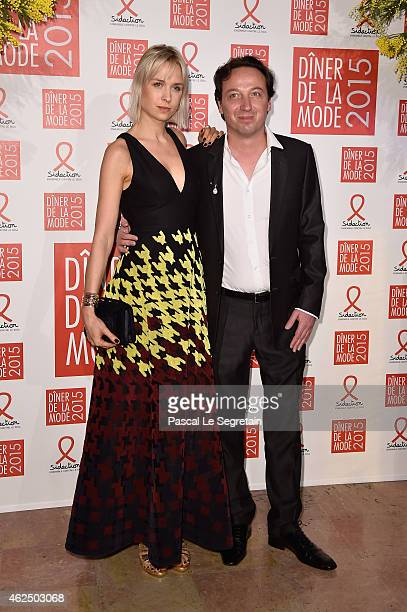 Emmanuel Perrotin and his companion AnneSophie Mignaux attend the Sidaction Gala Dinner 2015 at Pavillon d'Armenonville on January 29 2015 in Paris...