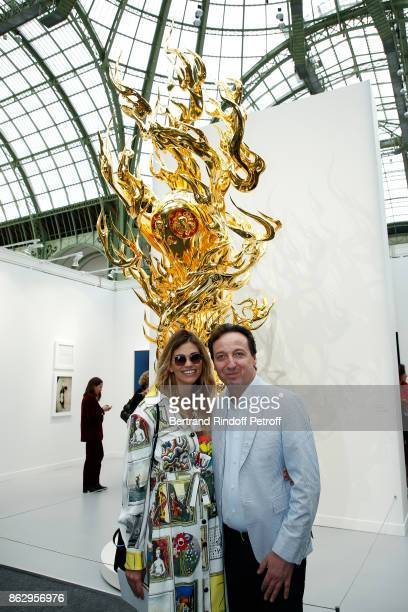 Emmanuel Perrotin and wife Lorena Vergani attend the FIAC 2017 International Contemporary Art Fair Press Preview at Le Grand Palais on October 18...
