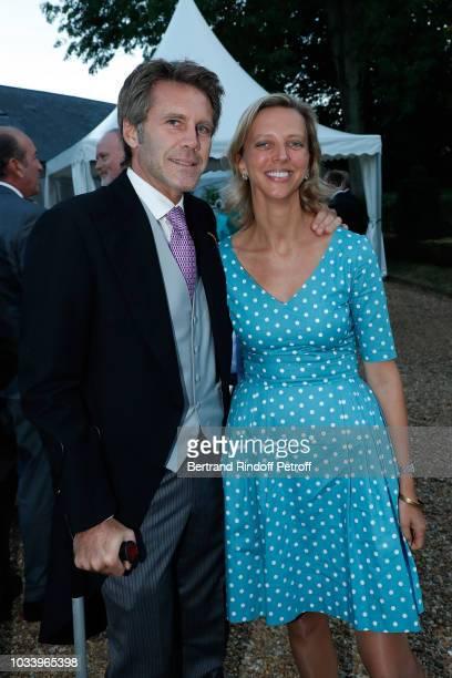 Emmanuel Philibert de Savoie and Amelie de Bourbon Parme attend Wedding of Helene de Yougoslavia and Stanislas Fougeron at Chateau de Villeprevost on...