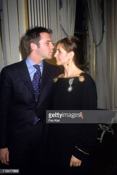 Emmanuel Philibert de Savoie and Clotilde Courau during Lambert Wilson and Clotilde Coureau receive the Officier and Chevalier des Arts et Lettres...