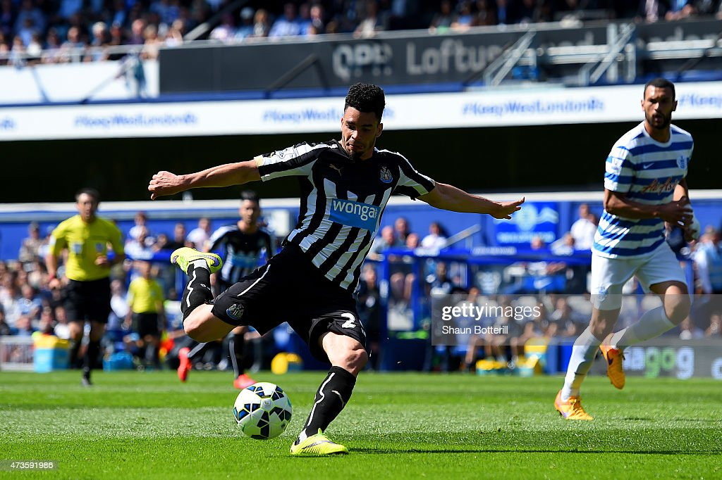 Emmanuel Riviere of Newcastle United scores the opening goal during the Barclays Premier League match between Queens Park Rangers and Newcastle United at Loftus Road on May 16, 2015 in London, England.