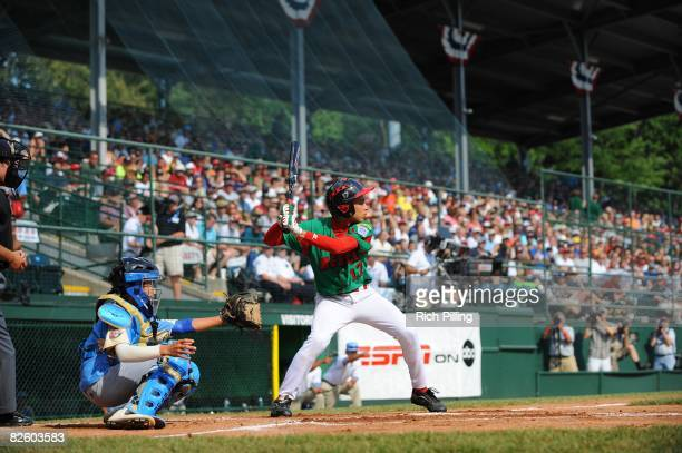 Emmanuel Rodriguez of the Matamoros Little League team bats during the World Series Championship game against the Waipio Little League team at Lamade...