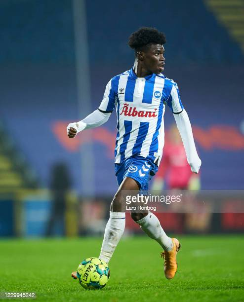 Emmanuel Sabbi of OB Odense controls the ball during the Danish 3F Superliga match between OB Odense and AaB Aalborg at Nature Energy Park on...