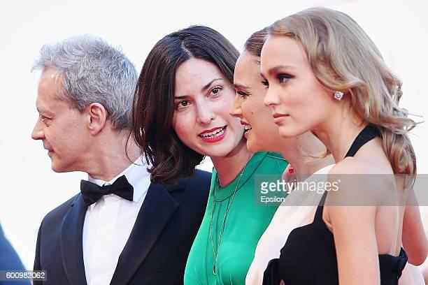 Emmanuel Salinger Rebecca Zlotowski Natalie Portman and LilyRose Depp attend the premiere of 'Planetarium' during the 73rd Venice Film Festival at...