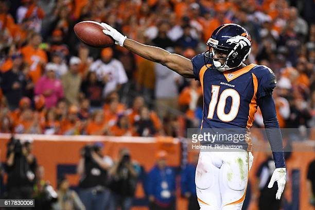 Emmanuel Sanders of the Denver Broncos celebrates a firstdown reception against the Houston Texans during the fourth quarter on Monday October 24...