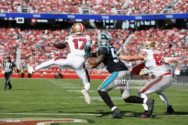 Emmanuel Sanders of the San Francisco 49ers catches a touchdown pass in the first quarter of the game against the Carolina Panthers at Levi's Stadium...
