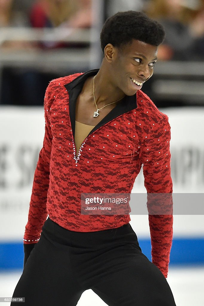 Emmanuel Savary finishes his routine in the mens short program championship with a smile on Day 2 at the 2017 US Figure Skating Championships on January 20, 2017 at the Sprint Center in Kansas City, Missouri.