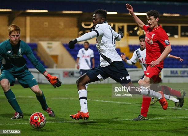 Emmanuel Sonupe of Tottenham Hotspur is faced by goalkeeper Adam Bogdan of Liverpool during the Barclays U21 Premier League match between Liverpool...