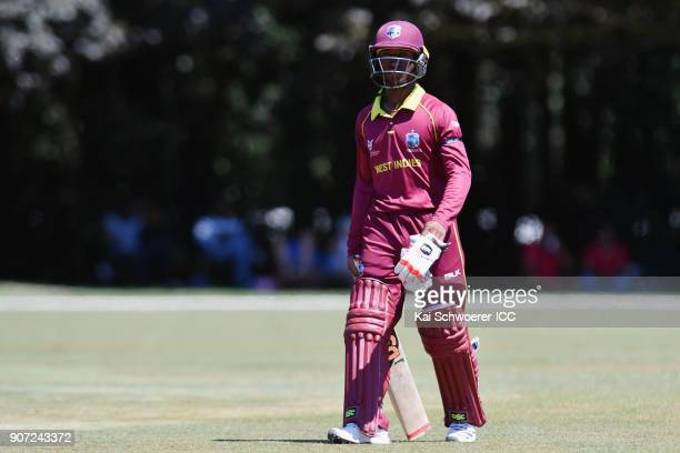 Emmanuel Stewart of the West Indies looks dejected after being dismissed by Abhishekh Chidambaran of Kenya during the ICC U19 Cricket World Cup match...