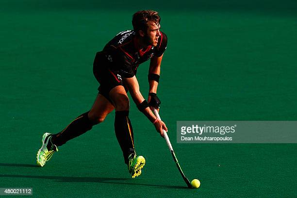 Emmanuel Stockbroekx in action during the Fintro Hockey World League SemiFinal match between India and Belgium held at KHC Dragons Gemeentepark...