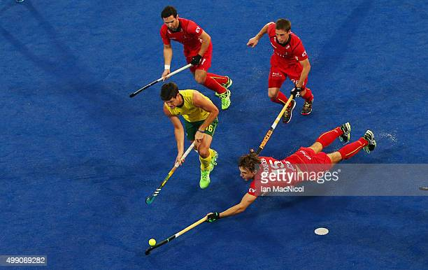 Emmanuel Stockbroekx of Belgiam dives for the ball the ball during the match between Australia and Belgium on day two of The Hero Hockey League World...