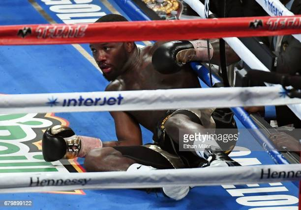 Emmanuel Taylor hits the canvas after being knocked down by Lucas Matthysse in the fifth round of their welterweight bout on May 6 2017 in Las Vegas...
