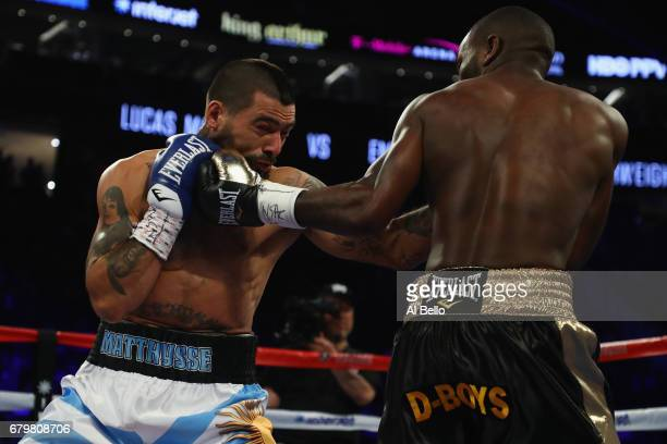 Emmanuel Taylor punches Lucas Matthysse during their welterweight bout at TMobile Arena on May 6 2017 in Las Vegas Nevada