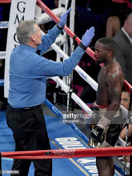 Emmanuel Taylor reacts as referee Jay Nady stops his welterweight fight against Lucas Matthysse in the fifth round at TMobile Arena on May 6 2017 in...