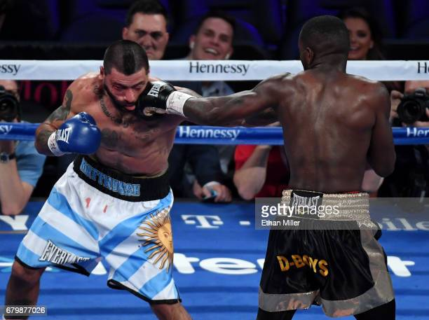Emmanuel Taylor throws a left at Lucas Matthysse in the third round of their welterweight bout on May 6 2017 in Las Vegas Nevada Matthysse won by...