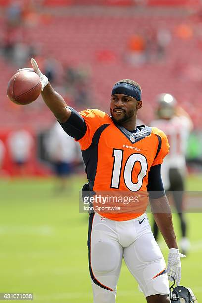 Emmanuel Thomas of the Broncos recognizes the fans before the NFL game between the Denver Broncos and Tampa Bay Buccaneers on October 02 at Raymond...