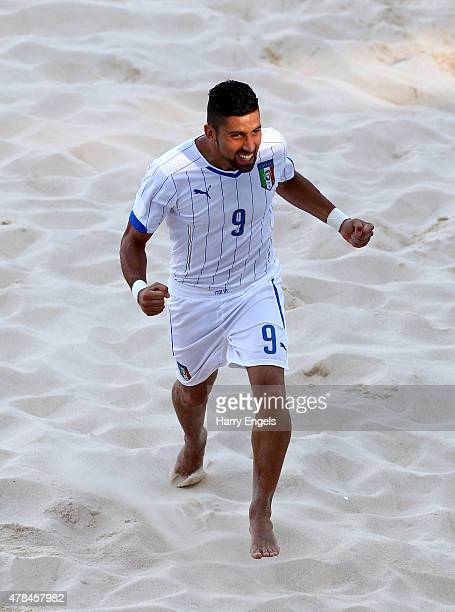 Emmanuel Zurlo of Italy celebrates during the Men's Beach Soccer Group B match between Russia and Italy on day thirteen of the Baku 2015 European...