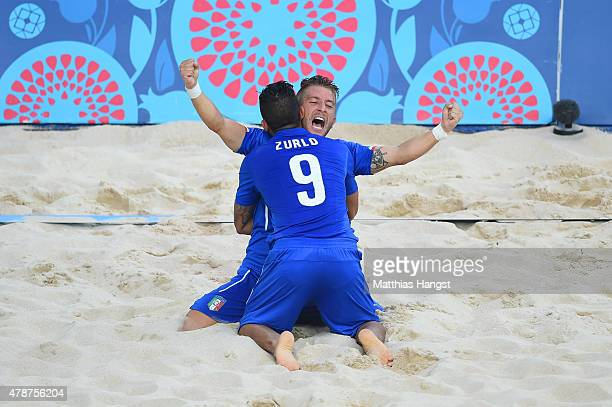 Emmanuele Zurlo and Simone Marinai of Italy celebrate scoring a goal in the Men's semi final match against Switzerland during day fifteen of the Baku...