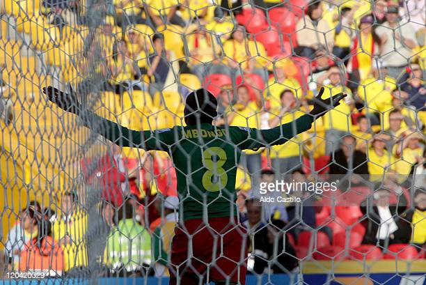 Emmanuell Mbongo from Cameroon celebrate his goal during a match of Group B between Uruguay and Cameroon as part of the FIFA U20 World Cup at the...