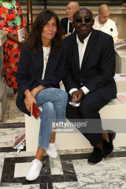 Emmanuelle Alt and Edward Enninful attend the Victoria Beckham show during London Fashion Week September 2019 at British Foreign and Commonwealth...