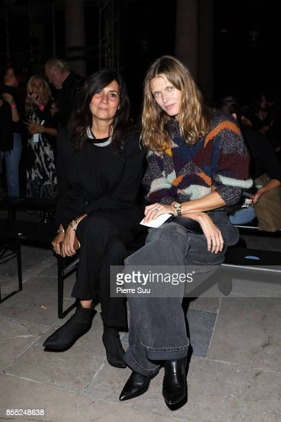 Emmanuelle Alt and Malgosia Belaattend the Isabel Marant show as part of the Paris Fashion Week Womenswear Spring/Summer 2018 on September 28 2017 in...