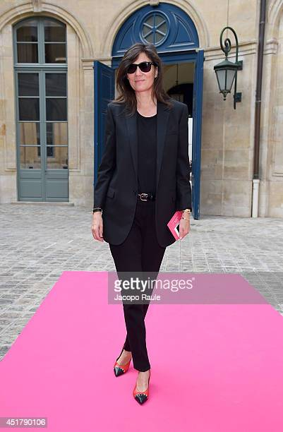 Emmanuelle Alt attends the Schiaparelli show as part of Paris Fashion Week Haute Couture Fall/Winter 20142015 on July 7 2014 in Paris France