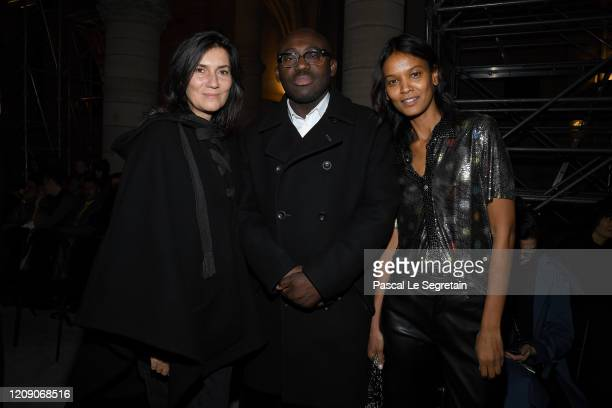 Emmanuelle Alt Edward Enninful and Liya Kebede attend the Paco Rabanne show at La Conciergerie as part of the Paris Fashion Week Womenswear...