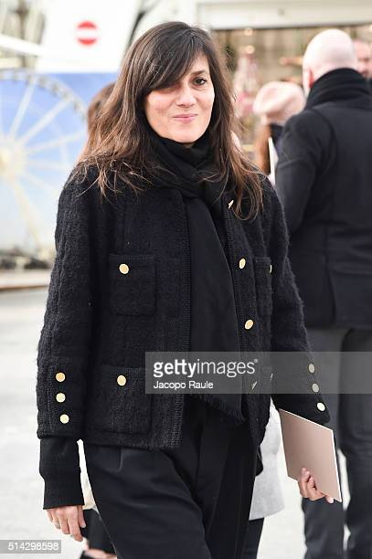 Emmanuelle Alt is seen arriving at Valentino Fashion show during Paris Fashion Week Womenswear Fall Winter 2016/2017 on March 8 2016 in Paris France
