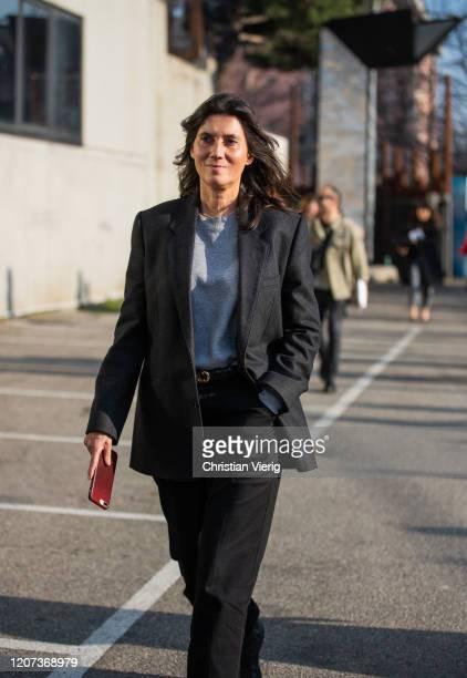 Emmanuelle Alt is seen outside Alberta Ferretti during Milan Fashion Week Fall/Winter 2020-2021 on February 19, 2020 in Milan, Italy.