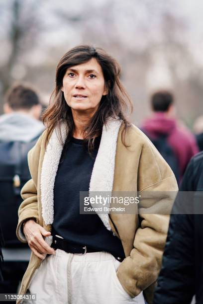 Emmanuelle Alt is seen outside Balmain during Paris Fashion Week Womenswear Fall/Winter 2019/2020 on March 01 2019 in Paris France