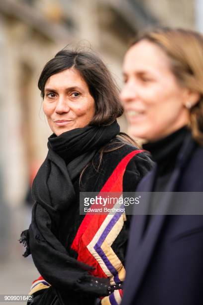 Emmanuelle Alt is seen outside Jean Paul Gaultier during Paris Fashion Week Haute Couture Spring/Summer 2018 on January 24 2018 in Paris France