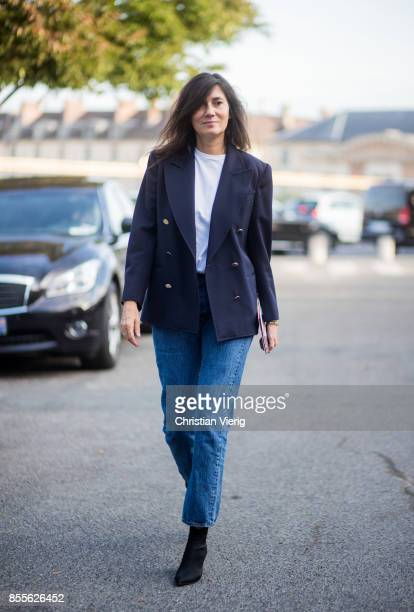 Emmanuelle Alt is seen outside Loewe during Paris Fashion Week Spring/Summer 2018 on September 29 2017 in Paris France