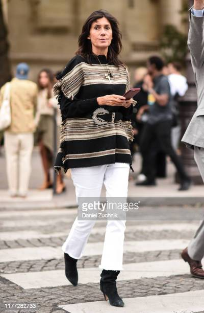 Emmanuelle Alt is seen outside the Chloe show during Paris Fashion Week SS20 on September 26 2019 in Paris France