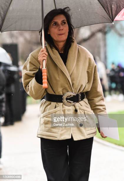 Emmanuelle Alt is seen outside the Maison Margiela show during Paris Fashion Week AW20 on February 26 2020 in Paris France