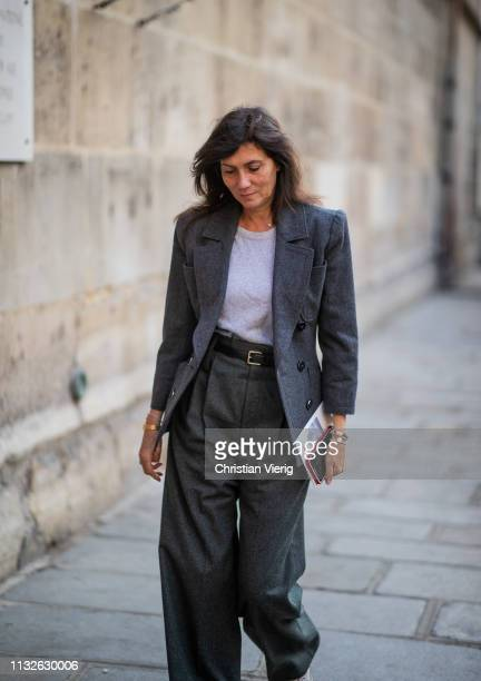 Emmanuelle Alt is seen wearing grey pants and blazer outside Lanvin during Paris Fashion Week Womenswear Fall/Winter 2019/2020 on February 27 2019 in...