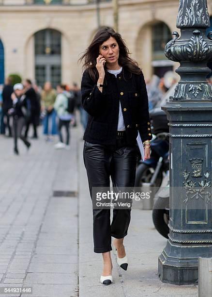 Emmanuelle Alt outside Schiaparelli during Paris Fashion Week Haute Couture F/W 2016/2017 on July 4 2016 in Paris France