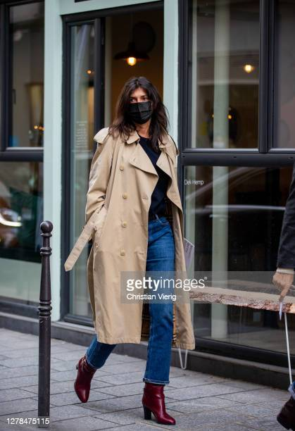 Emmanuelle Alt seen wearing trench coat outside Paco Rabanne during Paris Fashion Week - Womenswear Spring Summer 2021 : Day Seven on October 04,...