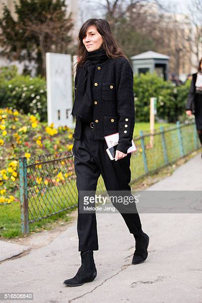 Emmanuelle Alt Vogue Paris Editor in Chief wears an all black outfit at the Chanel show at Grand Palais on March 07 2016 in Paris France